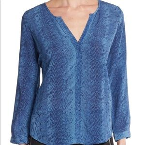 New JOIE PURINE Snake-Print Silk BLOUSE Top